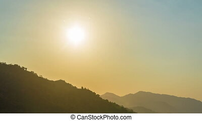 Mountain Sunset - Time lapse of the sun setting in the...