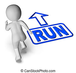 Run And 3D Character Shows Urgent Running - Run And 3D...