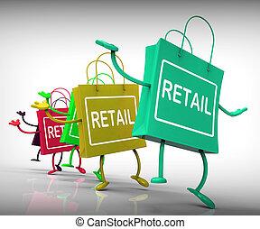 hänger lös, handel, visa, kommersiell, försäljningarna, berätta