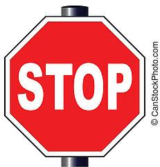 Octagon Stop Sign - The large octagon red and white stop...