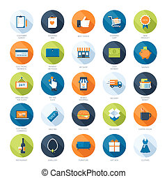 Shopping icons - Vector collection of modern flat and...