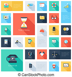 Business icons - Vector collection of colorful flat business...