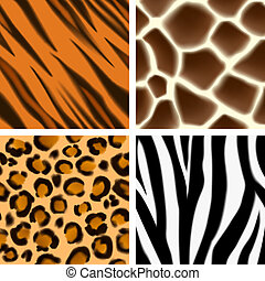Animal print seamless patterns - A set of detailed animal...