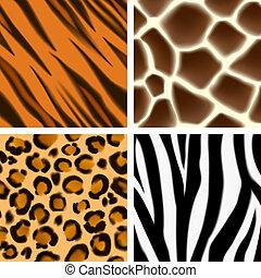 Animal print seamless patterns - A set of detailed animal...