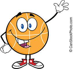 Happy Basketball Character Waving
