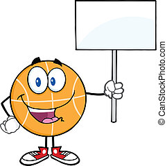 Basketball Holding A Blank Sign
