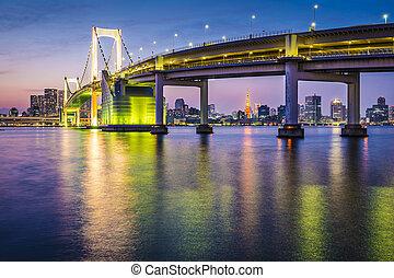 Tokyo Bay Cityscape - Tokyo, Japan at Tokyo Bay and Rainbow...