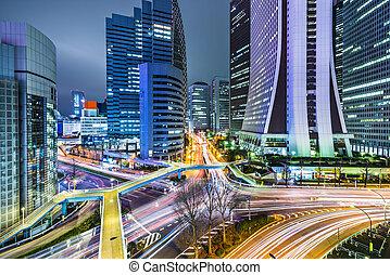Tokyo Japan at West Shinjuku - Tokyo, Japan office buildings...