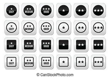 Easy, medium, hard level with stars - Vector buttons set -...