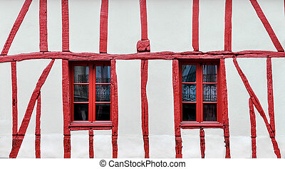 Half-timbered house detail - White and red half-timbered...