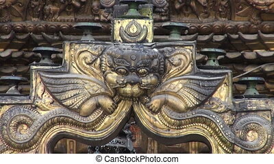 historical ornate buddhist temple door in Katmandu old town,...