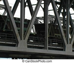 railway bridge - the train go by the railway bridge under...