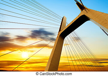 bridge - Modern bridge cables, twilight landscape