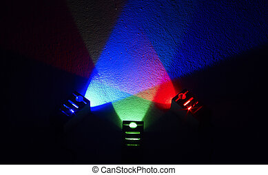 colored light - a red, green and blue floodlight in dark...