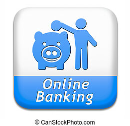 online banking money deposit on internet piggy bank account...