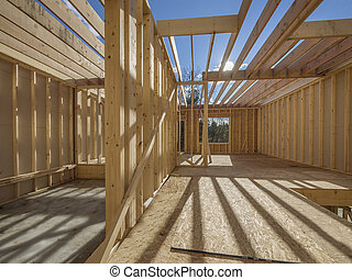 New house framing construction - Interior framing of a new...