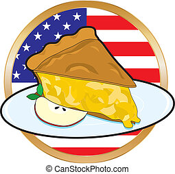 Apple Pie American Flag - A juicy piece of apple pie with...