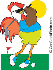 Rooster Golfer - A cool rooster taking a swing on the golf...