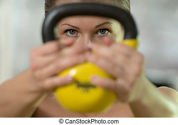 Kettle Bell Workout - Beautiful Athletic Woman Workout With...