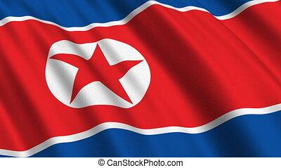 Flag of North Korea, seamless loop