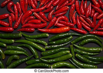 Texture of non-stem red and green bird eye chili pepper
