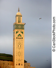 Minaret of Hassan II Mosque in Casablanca, Morocco