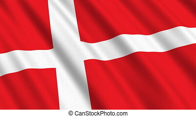 Flag of Denmark, seamless loop - Flag of Denmark waving in...