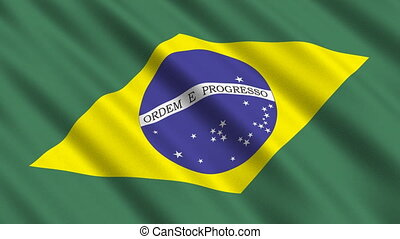 Flag of Brazil, seamless loop - Flag of Brazil waving in the...