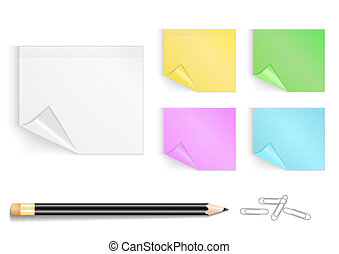 Colorful stickers with pencil and paper clips