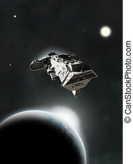 In System - Science fiction spaceship flying between planets...