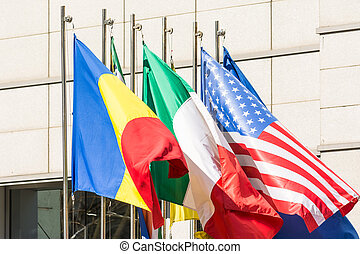 Flag Of Romania, Italy And USA - Flag Of Romania, Italy And...