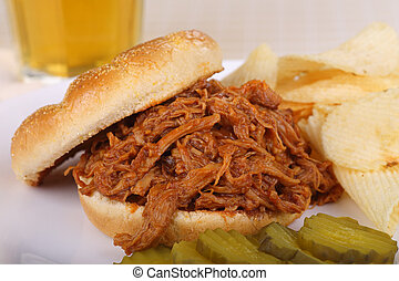 Pulled Pork Sandwich - Closeup of a pulled pork barbecue...