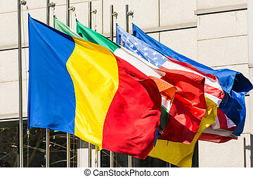 Romanian Flag, USA And EU - Romanian Flag Along The European...