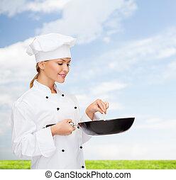 sorrindo, femininas, cozinheiro, panela, colher