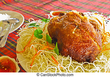Deep fried chicken and crisp white noodle