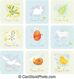 Easter Symbols Set - Small cards or stickers set with Easter...