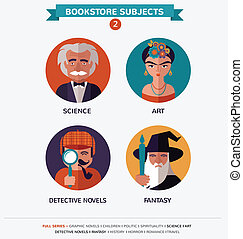 Bookstore subjects, flat icons and characters - 12 Bookstore...