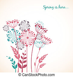 Spring dandelion flowers - vector background