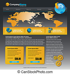 web site design - Vector web site design template with globe