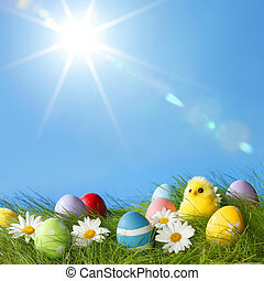 Easter Greeting Card with decorated Easter eggs in the grass...