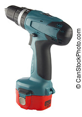 Hand drill - Cordless Drill with battery isolated on white...