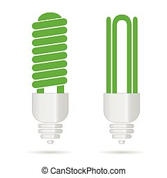 energy saving green light bulbs vector