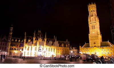 The city center of Brugge (Bruges) in the rain, Belgium. Time Lapse.