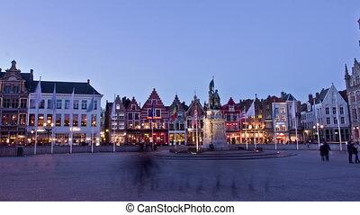 Old Markt square in the center of Bruges (Bruges), Belgium....