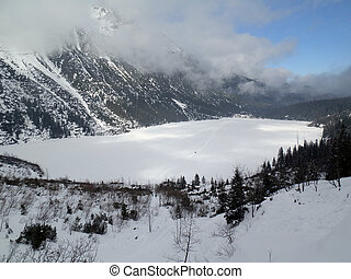 frozen lake morskie oko - frozen lake in morskie oko, poland