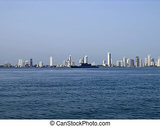 skyline - Skyline of Boca Grande, the modern Cartagena,...