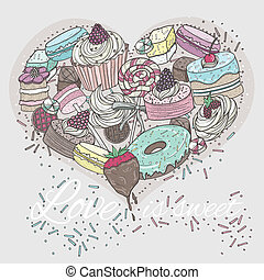 Cute heart from sweets. Valentines day card