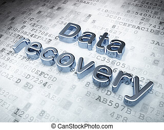 Data concept: Silver Data Recovery on digital background, 3d...