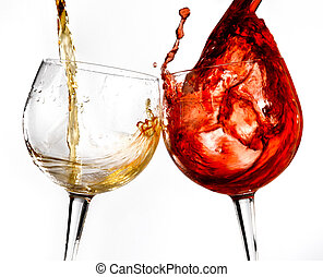 Wine glasses on the isolated background