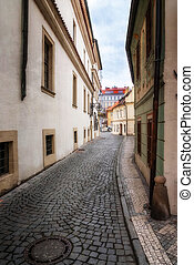 Morning in old city without people . Prague. textured old...